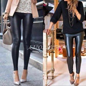 6014eb66d65a Matte Black slick faux leather leggings. Boutique